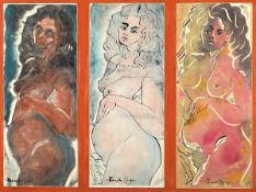 Ricardo Gago, geb. 1949, Can Gili, zeitgenössischer spanischer Künstler, drei Frauenakte, Aquarelle,