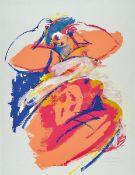 Christiane Maether, geb. 1941, Hambach, Farbserigraphie übermalt, signiert und dat. 94, num. 30/100,