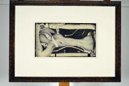 Horst Janssen,1929-1995, erotische Aktzeichnung, Bleistift und Kreide auf dickem Velin,