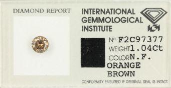 Loser Brillant 1.04 ct, natural fancy orange brown, IGI Expertise v. 1995 Schätzpreis: 2400, -