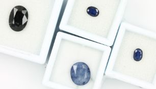 Konvolut 4 lose Saphire, best. aus: 1 x 6.431 ct, 1 x 1.027 ct, 1 x 1.154 ct, oval facett., Blau,