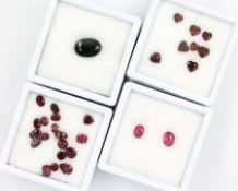 Konvolut lose Farbsteine, best. aus: 1 x 2 Pinksaphire zus. ca. 2.2 ct, oval facett., 1 xlose