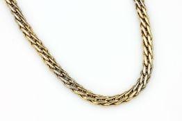 14 kt Gold Collier, ca. 36.7 g, GG/WG, L. ca. 46.5 cm, große Federringschließe14 kt gold necklace,