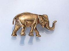 """21.6 kt Goldskulptur """"Elefant"""", ca. 22.8 g, GG 900/000, naturalistische Darstellung, pol.21.6 kt"""