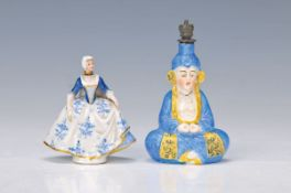 Zwei Flakons, Sitzendorf/ Thüringen, 19. Jh., handbemalt, Rokoko-Dame und Bodhisattva, gold