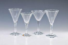 30-tlg. Glasservice, Moser Karlsbad, farbloses Kristallglas, 12-kantige Kuppa konisch zulaufend,