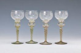 6 Weissweingläser, Rosenthal, 20. Jh., Kuppa farbloses Glas reich geschliffen und geschnitten, Nodus