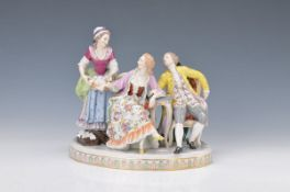 Porzellanfigurengruppe, Thüringen, um 1900-10, Galantes Paar mit Spitzenborten Verkäuferin, bunt