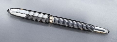 "CARTIER fountain pen ""COUGAR de CARTIER"" , 1992, corpus and cap fluted, metal anthrazit, partly"
