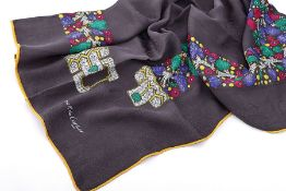 CARTIER carree , 100 % silk, Paris, ground grey, with circular colorful belt decor, edgesrolled,