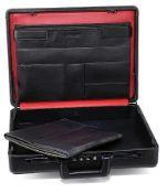 SEEGER attache case and documents folder , finest, black lamb nappa, suitcase with handle,