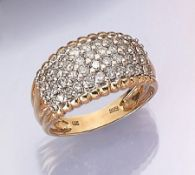 14 kt gold ring with brilliants , YG/WG 585/000, brilliants total approx. 2.00 ct Wesselton/si-p1/2,