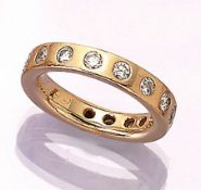Solid 18 kt gold memoryring with brilliants , YG 750/000, brilliants total approx. 1.50 ct