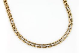 18 kt gold necklace with brilliants , YG 750/000, 48 brilliants total approx. 2.0 ct Wesselton/si,