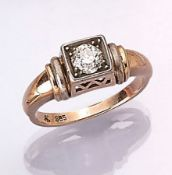 14 kt gold ring with diamond , YG/WG 585/000, old cut diamond approx. 0.50 ct Wesselton-Crystal/