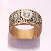 14 kt gold ring with diamonds , YG/WG 585/ 000, centered brilliant approx. 0.25 ct, surrounded by