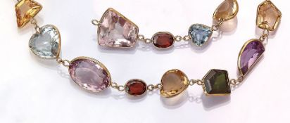 18 kt gold necklace with coloured stones , coloured stones in different sizes and cuts total approx.
