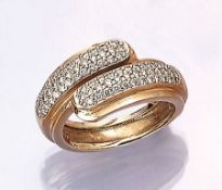 14 kt gold ring with brilliants , YG/WG 585/000, brilliants total approx. 1.0 ct Top Wesselton-