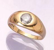14 kt gold ring with brilliant , YG 585/000,brilliant approx. 1.20 ct Crystal/p 1, ringsize 62,