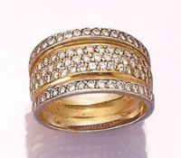 18 kt gold ring with brilliants , YG/WG 750/000, brilliants total approx. 2.00 ct Top Wesselton-