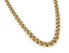 14 kt gold necklace , YG 585/000, l. approx.44.5 cm, case lock with two safety eights, approx. 26.
