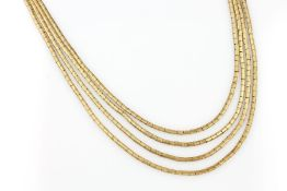 18 kt gold 4-rowed necklace , 65.3 g, YG 750/000, fine engraved, l. approx. 43 cm, caselock with