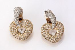 "Pair of 18 kt gold earrings ""hearts"" with brilliants, YG/WG 750/000, brilliants totalapprox. 1.20 ct"