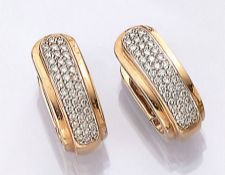Pair 14 kt gold hoop earrings with brilliants , YG/WG 585/000, brilliants total approx. 1.0 ct Top