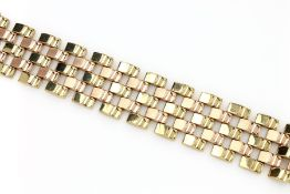 14 kt gold bracelet, approx. 42.3 g , YG/RG 585/000, movable, l. approx. 17.5 cm, case lock with 2