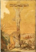 "Sehr feine Aubosson ""Tapisserie"" antik (Kreuzigung Jesus Christus mit Maria Magdalena),"