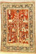 Feiner Seiden Heriz antik (Tree Of Life), Nordwestpersien, 19.Jhd., reine Naturseide. Dieser seltene