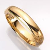 14 kt gold bangle , approx. 36.9 g, YG 585/000, bombiert, polished, diam. approx. 6.2x 5.5 cm