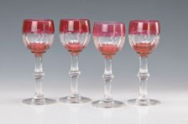 Four wine rummer, Saint Louis, crystal glass, red overlay, polished and cut, H. approx. 18 cm