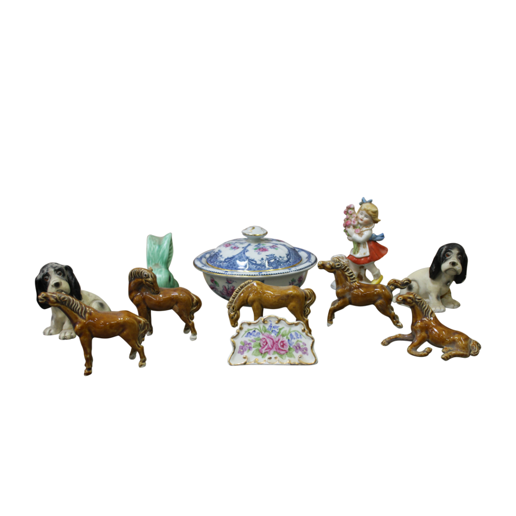 Lot 55 - COLLECTION OF POTTERY AND PORCELAIN ANIMAL FIGURES