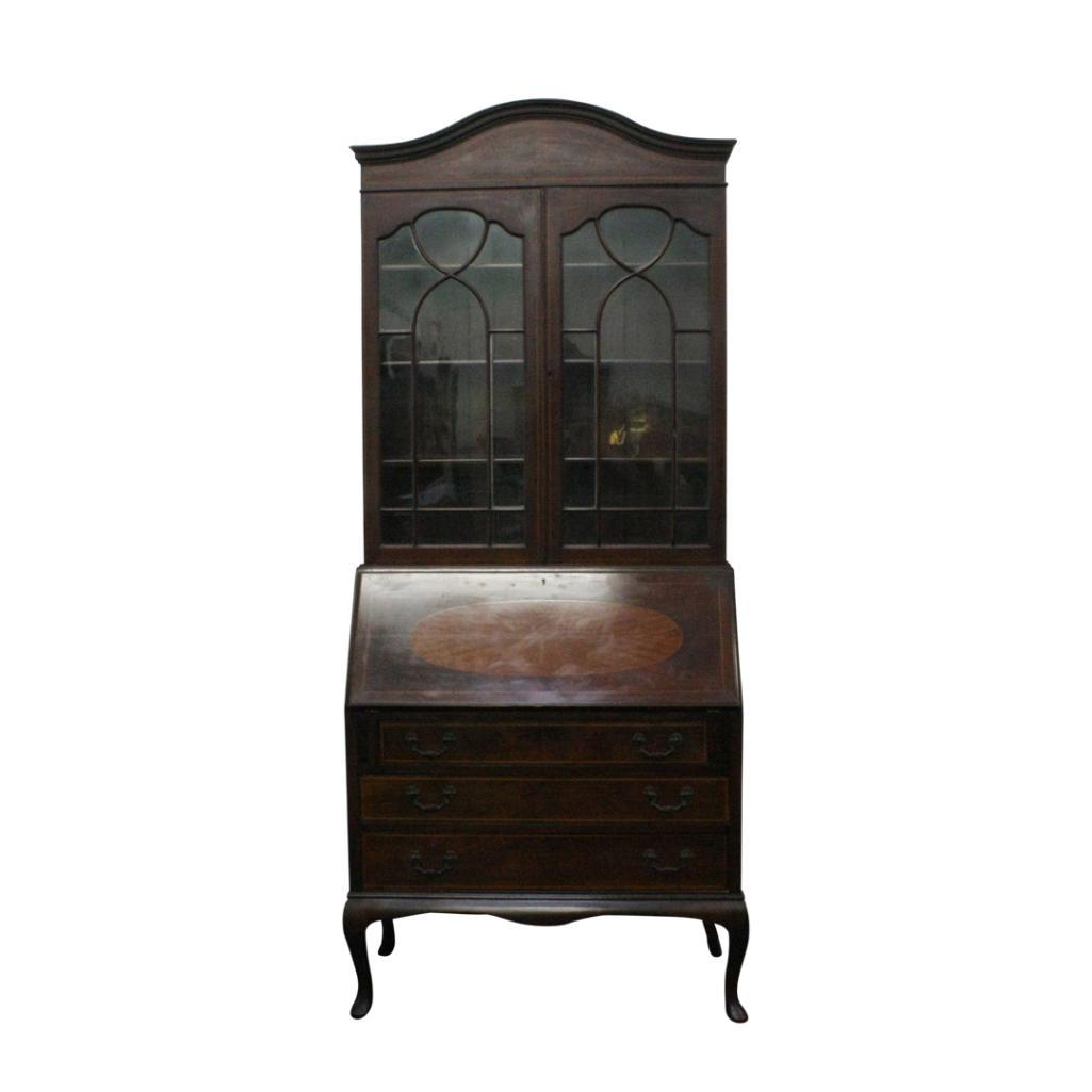 Lot 18 - INLAID MAHOGANY BUREAU BOOKCASE