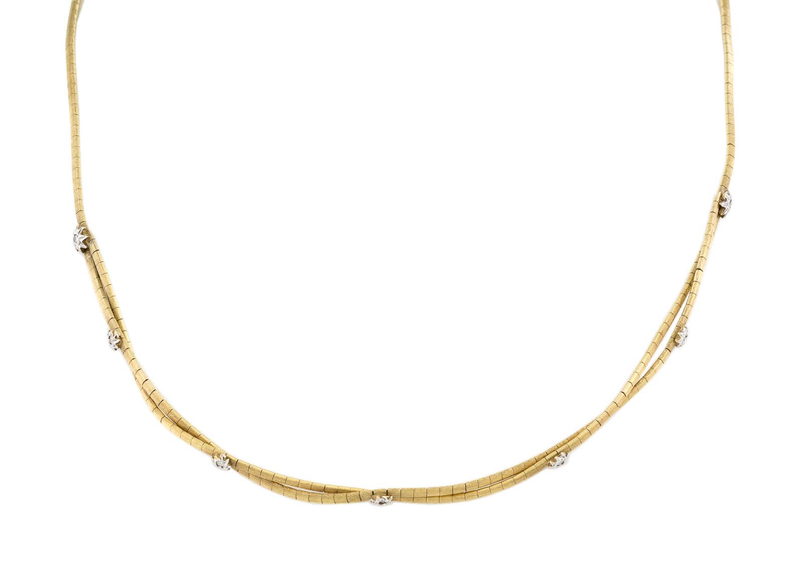 Lot 31 - DIAMANT-COLLIER Gelbgold, Weißgold. L. 43,5 cm, Ges.-Gew. ca. 17,2 g. Gest. 585. Besetzt mit