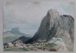 "1 kleines Aquarell ""Berglandschaft mit Berghütte"", links unten unleserlich signiert, da verblasst,"