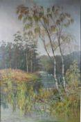 """1 Ölbild auf Leinwand """"Landschaft"""", links unten signiert, ca. 75cm x 49,5cm (Motivgrösse), Bild"""