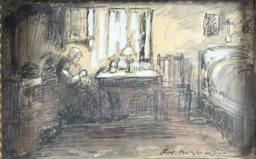 """1 Tuschezeichnung aquarelliert """"Interieur, Bauernstube mit alter Frau"""", rechts unten Schriftzug, ca."""