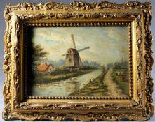 """1 kleines Ölbild auf Holz in sehr schöner Holzleiste """"holländische Landschaft"""", Julius Kornbeck ("""