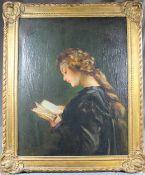"""1 altes Ölbild auf Leinwand """"lesendes Mädchen"""", keine Signatur erkennbar, ca. 58cm x 45cm ("""