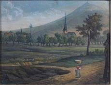 """1 kleines Bild """"Landschaft"""", keine Signatur erkennbar, ca. 9cm x 12cm (Motivgrösse)- - -23.50 %"""