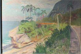 """1 Ölbild auf Spanplatte """"südliche Landschaft"""", rechts unten signiert, ca. 19cm x 28,5cm ("""