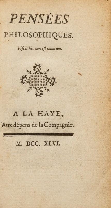 Lot 31 - DIDEROT (Denis). Pensées philosophiques. 1 vol. in-12 plein veau marbré