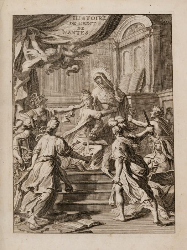 Lot 1 - BENOIST Élie. Histoire de l'Édit de Nantes. Delft. Adrien Beman. 1693-1695. 3 tomes en 5 vol. in-4°
