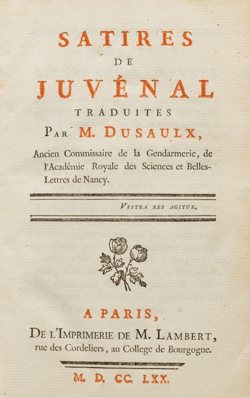 Lot 49 - JUVENAL. Satires de Juvénal. 1 vol. in-8 plein maroquin rouge.