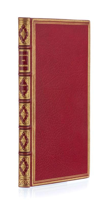 Lot 34 - DIONIS DU SÉJOUR. Origine des grâces. Paris. s. n.. 1777. In-8 relié plein maroquin rouge par Chambo