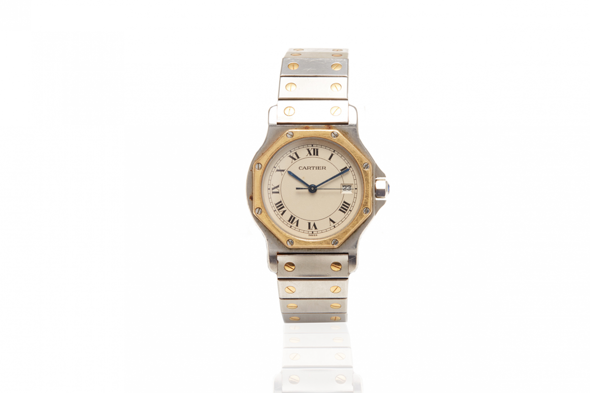 Lot 20 - CARTIER - A SANTOS OCTOGONAL WATCH