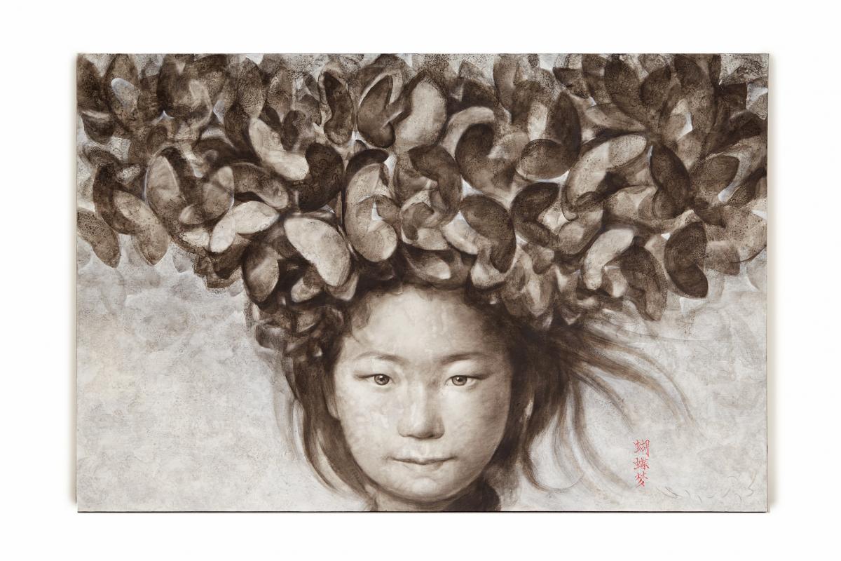 SILAWIT POOL SAWAT (THAI, B.1972) - THAI GIRL WITH BUTTERFLIES ON HAIR