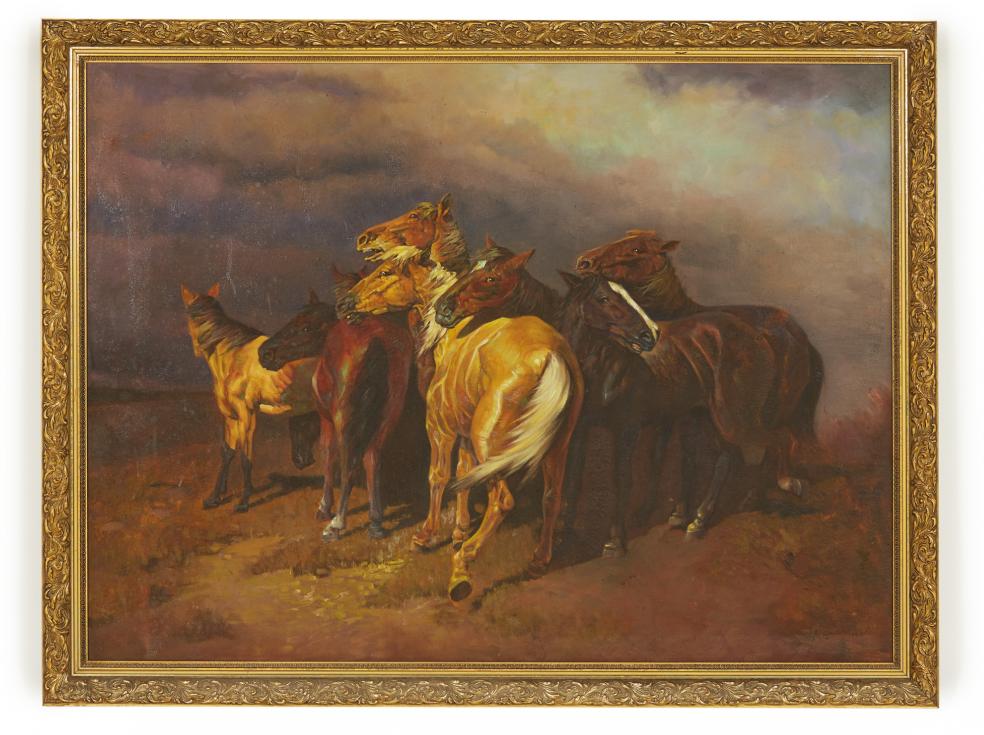 Lot 24 - EUROPEAN SCHOOL (20TH CENTURY) - WILD HORSES